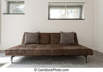 Minimalistic brown divan with cushions in a bright interior