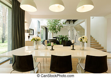 Modern dining room witch a big table