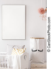 Baby nursery white poster mockup - Baby nursery with white...