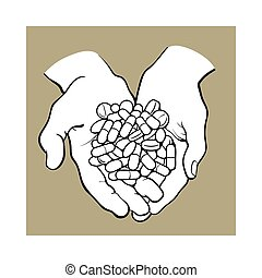 Two cupped hands holding handful, pile of pills, medicine