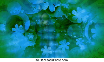 Blue green textured looping flowers and shapes retro CG  backdrop