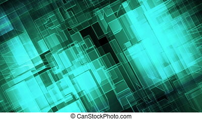 Blue green black slanted geometric looping abstract CG...
