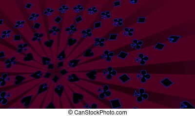 Card suits retro gambling animated background in magenta...