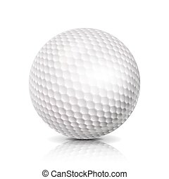 Golf Ball. 3D Realistic Vector Illustration. White Sport Golf Ball Isolated On White Background.