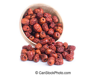 dried jujube fruits, chinese herbal medicine in bowl...