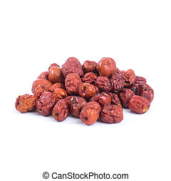 dried jujube fruits, chinese herbal medicine isolated on...