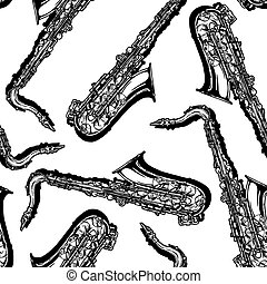Seamless pattern with saxophone