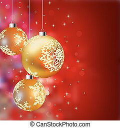 Christmas background with gold baubles, defocused lights (no...