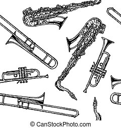 pattern with woodwind and brass musical instrument -...