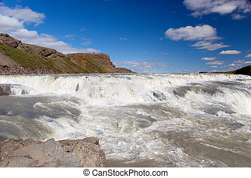 Waterfall Gulfoss Iceland - View of the waterfall in Iceland
