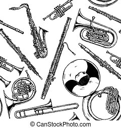 Seamless pattern with woodwind and brass musical instrument....