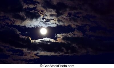 Full moon starry night with some clouds - Full moon in a...