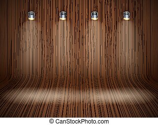 Curved wooden background with spotlights - Curved dark...