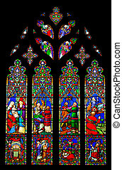 Stained glass window of the Chester Cathedral, United...