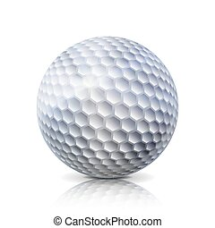 Realistic Golf Ball Isolated On White Background. Traditional Classic Golf Ball Design. Three-dimensional. Vector Illustration.
