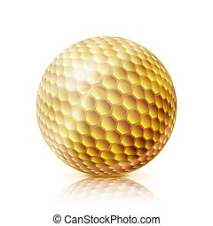 Gold Golf Ball. 3D Realistic Vector Illustration. Isolated On White Background.