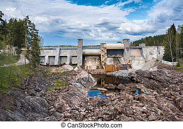 Dam in Imatra, Finland - Hydroelectric power plant and dam...