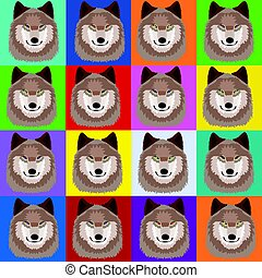 Illustration with wolves in pop art Andy Warhol style.eps -...