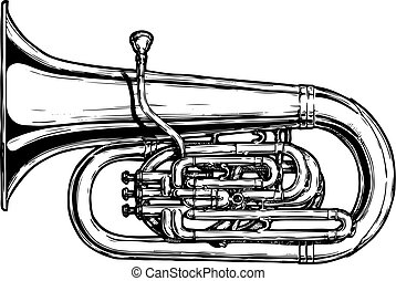 illustration of tuba - Vector hand drawn illustration of...