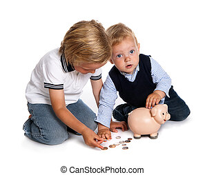 Brothers filling their piggy bank