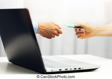 e-commerce - online payment with credit card internet shopping concept
