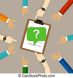 survey feedback get suggestion opinion or review. question mark with people hands around it