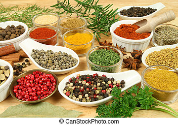 Additives - Various spices selection Food ingredients and...