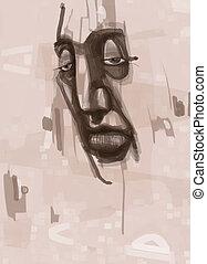 man face digital painting - Digital Painting Illustration of...