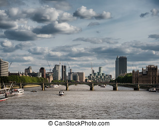 Thames with docklands and the Parliament, UK