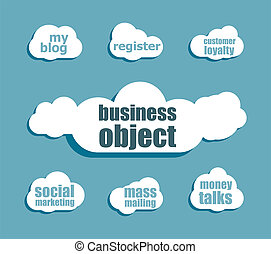 business object word. Management concept . Design with abstract speech bubble set
