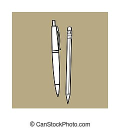 Simple hand drawn ball point pen and pencil, office...