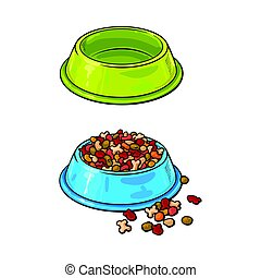 Plastic bowls, empty and filled with pet, cat, dog food -...
