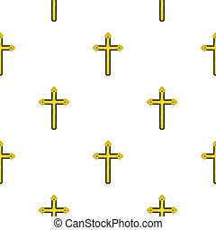 Holy cross pattern seamless background in flat style repeat...