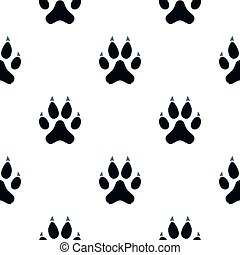 Cat paw pattern seamless background in flat style repeat...