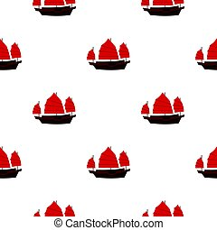 Chinese boat with red sails pattern seamless