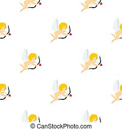 Amur or Cupid pattern seamless background in flat style...