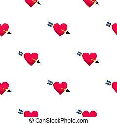 Heart pierced by Cupid arrow pattern seamless background in...