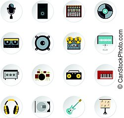 Recording studio items icons set in flat style isolated...