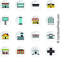 City infrastructure items set flat icons - City...