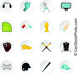 Baseball icons set in flat style isolated vector icons set...