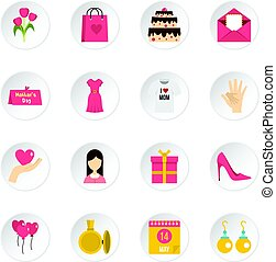 Mothers day icons set in flat style