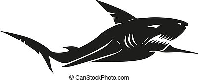Vintage black shark - Vector vintage illustration of a black...