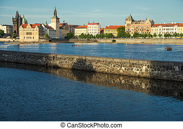 Prague old city - view of the river in Prague