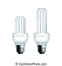 Two fluorescent lamps - Two vector compact fluorescent...