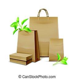 Kraft paper bags - Vector blank kraft paper bags with leaves...