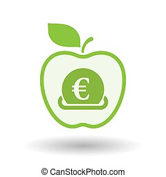 Isolated apple with an euro bank note - Illustration of an...