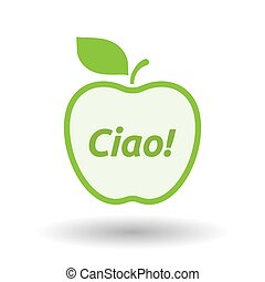 Isolated apple with  the text Hello! in the Italian language