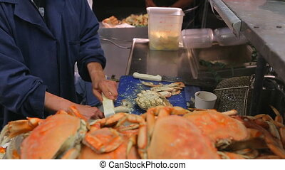 Crabs are cooked in the market. Street food cooking crabs to...