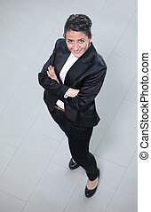 Young smiling business woman view from above - Happy smiling...