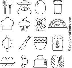 Bakery icons set, outline style - Bakery icons set. Outline...